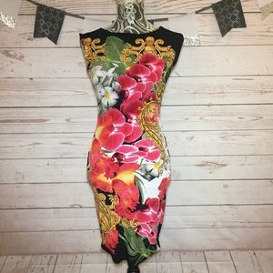 Cache Multi- Color Floral Fitted Jersey Dress XS